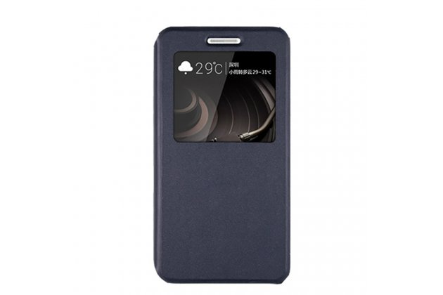 Фирменный оригинальный чехол-книжка для Lenovo K8 Note/K8 Plus темно-синий с окошком для входящих вызовов водоотталкивающий