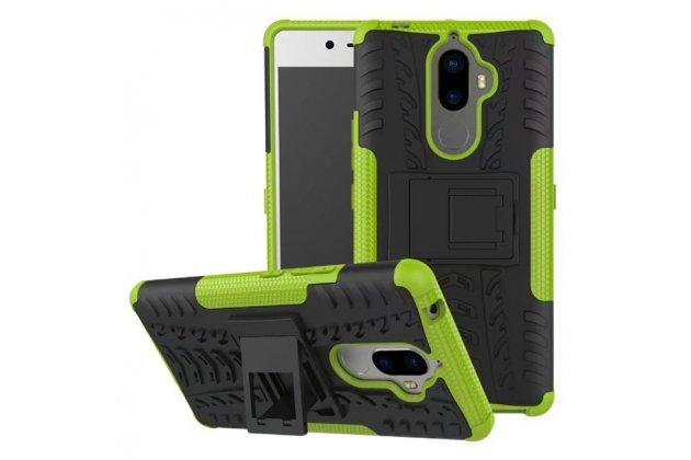 Противоударный усиленный ударопрочный фирменный чехол-бампер-пенал для Lenovo K8 Note/K8 Plus зеленый