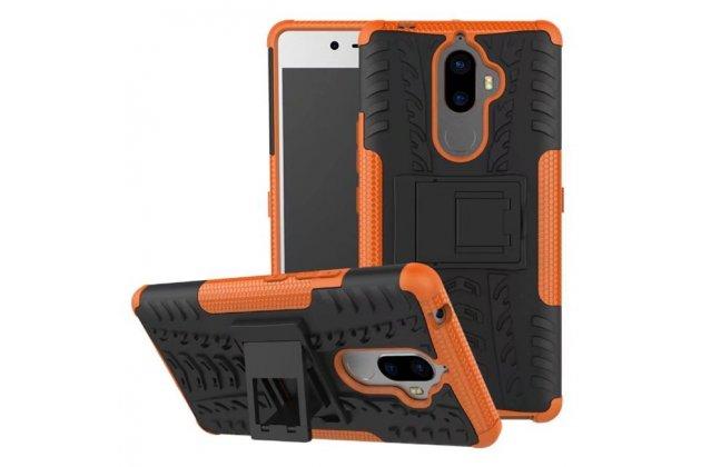 Противоударный усиленный ударопрочный фирменный чехол-бампер-пенал для Lenovo K8 Note/K8 Plus оранжевый