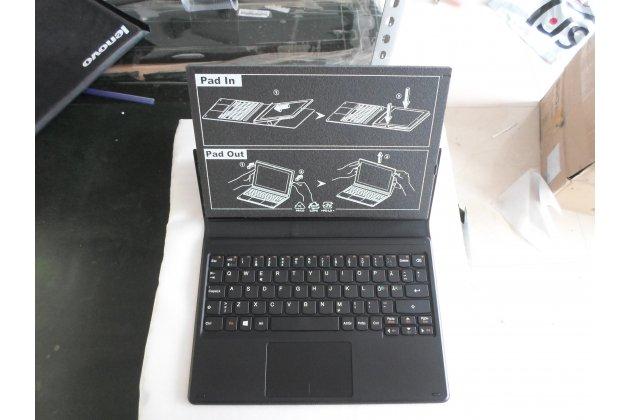 Фирменная оригинальная съемная клавиатура/док-станция/база для планшета Lenovo MIIX 3 10.1 / Miix3 1030 с чехлом черного цвета + гарантия + русские клавиши