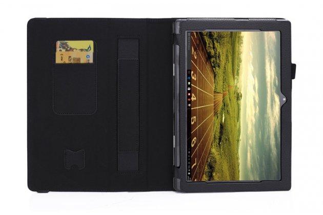 Фирменный оригинальный чехол для Lenovo MIIX 310-10ICR (80SG00A9RK) с отделением под клавиатуру черный кожаный