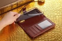 Фирменный чехол-книжка из качественной импортной кожи с подставкой застёжкой и визитницей для Lenovo Phab PB1-750M / 750N /6.98/ 7.0 коричневый