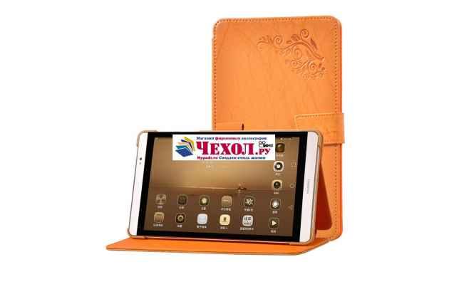 Фирменный чехол закрытого типа с красивым узором для планшета Huawei MediaPad M2 8.0 LTE (M2-801W M2-803L) с держателем для руки оранжевый натуральная кожа Prestige Италия
