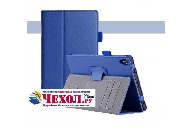 Фирменный чехол бизнес класса для Lenovo TB-8703N / X (ZA230018RU) с визитницей и держателем для руки синий натуральная кожа Prestige Италия