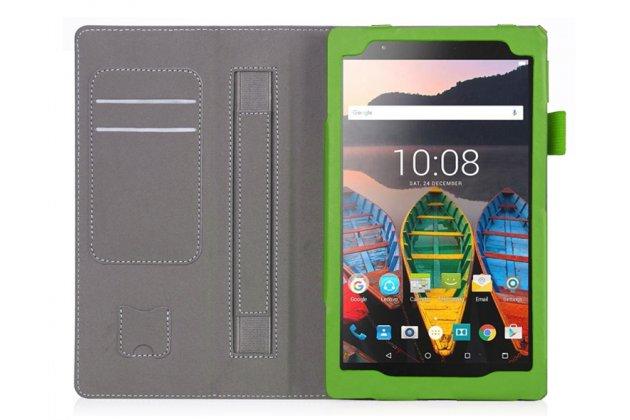 Фирменный чехол бизнес класса для Lenovo TB-8703N / X (ZA230018RU) с визитницей и держателем для руки зеленый натуральная кожа Prestige Италия