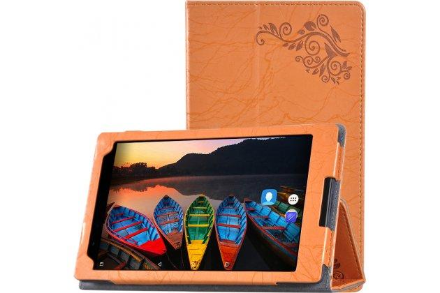 Фирменный чехол закрытого типа с красивым узором для планшета Lenovo TB-8703N / X (ZA230018RU) с держателем для руки оранжевый натуральная кожа  Италия