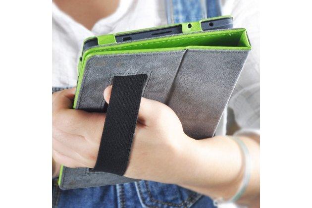 Фирменный чехол закрытого типа с красивым узором для планшета Lenovo TB-8703N / X (ZA230018RU) с держателем для руки зеленый натуральная кожа  Италия