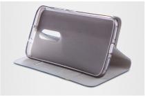 """Фирменный чехол-книжка водоотталкивающий с мульти-подставкой на жёсткой металлической основе для Lenovo VIBE C2 Power/ K10 ( K10A40/ PA450118RU) 5.0""""  черный с золотой полосой"""
