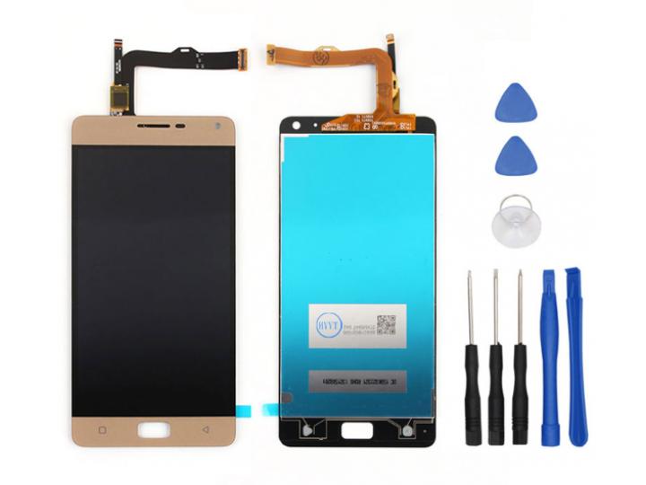 Фирменный LCD-ЖК-сенсорный дисплей-экран-стекло в сборе с тачскрином на телефон Lenovo Vibe P1 Pro золотой + г..