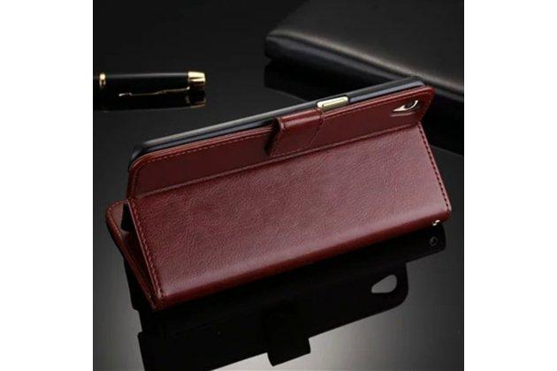 Фирменный чехол-книжка из качественной импортной кожи с подставкой застёжкой и визитницей для Lenovo Vibe P1 / P1 Pro (C72) 5.5 коричневый