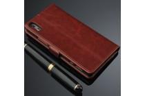 Фирменный чехол-книжка из качественной импортной кожи с подставкой застёжкой и визитницей для Lenovo Vibe Shot Z90/Z90-3/Z90-7/Z90-A40/Z90A40 LTE 5.0 коричневый
