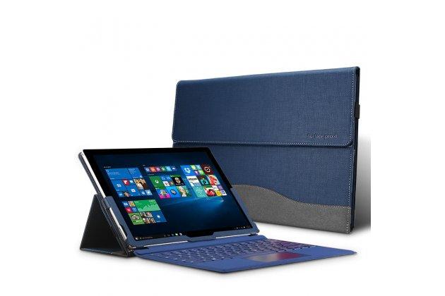 """Фирменный оригинальный чехол для Microsoft Surface Pro 4 12.3"""" (i5/m3/i7) синий с серой полосой водоотталкивающий"""