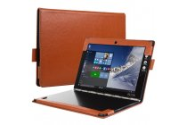 Фирменный умный дорогой качественный элитный премиальный чехол для планшета YB1-X91L / X90L / ZA0W0014RU из качественной импортной кожи с отделением под клавиатуру коричневый