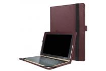 Фирменный оригинальный чехол для YB1-X91L / X90L / ZA0W0014RU с отделением под клавиатуру коричневый кожаный