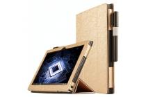 Фирменный чехол-футляр-книжка для Lenovo Yoga Book 10.1 YB1-X91L золотой кожаный