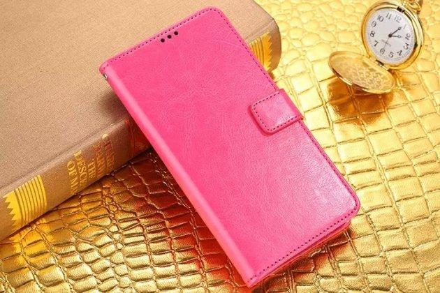 Фирменный чехол-книжка из качественной импортной кожи с подставкой застёжкой и визитницей для Леново Зук Эдж розовый