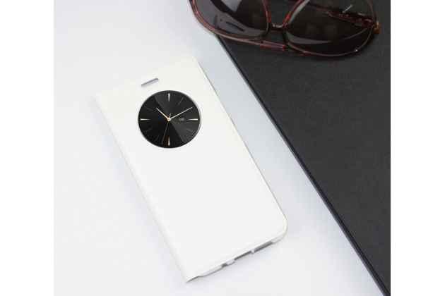 Фирменный оригинальный чехол-книжка для Lenovo Zuk Edge белый с окошком для входящих вызовов водоотталкивающий