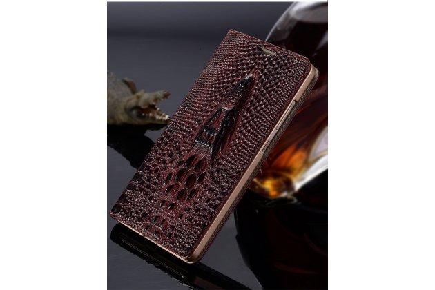 Фирменный роскошный эксклюзивный чехол с объёмным 3D изображением кожи крокодила цвет красное вино для Lenovo Zuk Edge . Только в нашем магазине. Количество ограничено