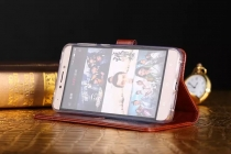 Фирменный чехол-книжка из качественной импортной кожи с подставкой застёжкой и визитницей для Леново Зук Эдж коричневый