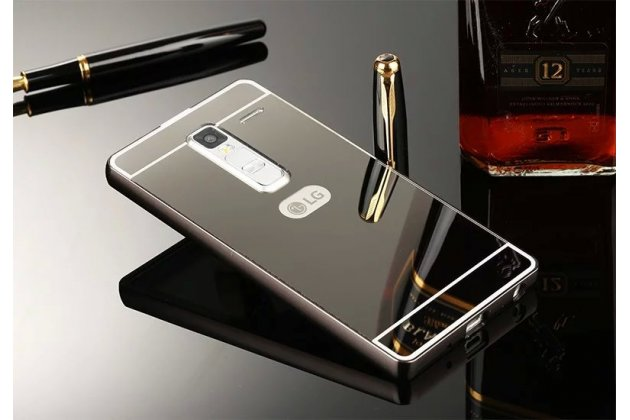 Фирменная металлическая задняя панель-крышка-накладка из тончайшего облегченного авиационного алюминия для LG Class черная