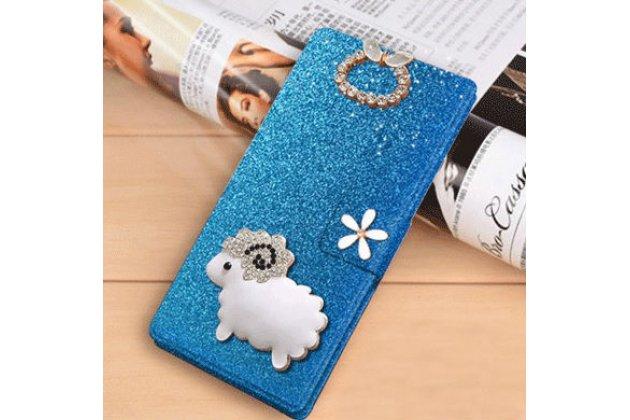 Фирменный роскошный чехол-книжка безумно красивый декорированный бусинками и кристаликами на LG Class голубой