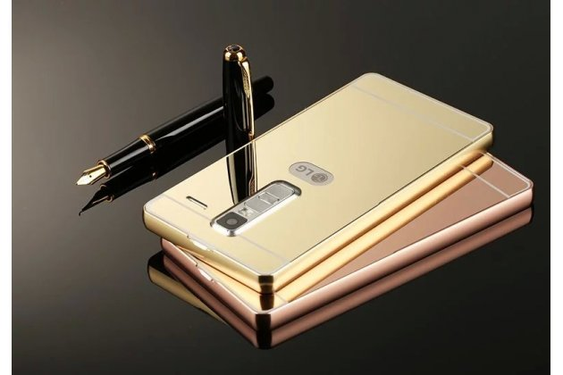 Фирменная металлическая задняя панель-крышка-накладка из тончайшего облегченного авиационного алюминия для LG Class золотая