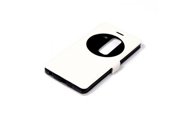 Фирменный оригинальный чехол-книжка для LG Class белый с окошком для входящих вызовов водоотталкивающий