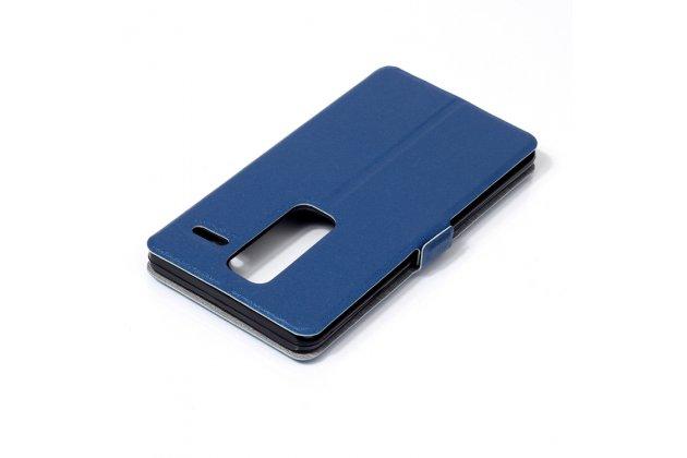 Фирменный оригинальный чехол-книжка для LG Class синий с окошком для входящих вызовов водоотталкивающий
