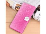 Фирменный роскошный чехол-книжка безумно красивый декорированный бусинками и кристаликами на LG Class розовый..