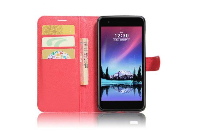 Фирменный чехол-книжка из качественной импортной кожи с подставкой застёжкой и визитницей для LG K10 (2017) M250 красный