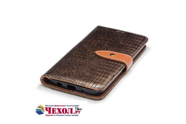 Фирменный роскошный эксклюзивный чехол с фактурной прошивкой рельефа кожи крокодила и визитницей золотой для LG K7 (2017) X230. Только в нашем магазине. Количество ограничено