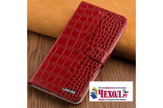 Фирменный роскошный эксклюзивный чехол с фактурной прошивкой рельефа кожи крокодила и визитницей красный для LG G6 mini / LG Q6 / LG Q6 Plus / LG Q6a M700. Только в нашем магазине. Количество ограничено