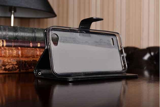 Фирменный чехол-книжка из качественной импортной кожи с мульти-подставкой застёжкой и визитницей для LG G6 mini / LG Q6 / LG Q6 Plus / LG Q6a M700 черный