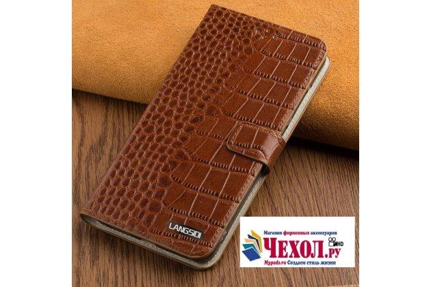 Фирменный роскошный эксклюзивный чехол с фактурной прошивкой рельефа кожи крокодила и визитницей коричневый для LG G6 mini / LG Q6 / LG Q6 Plus / LG Q6a M700. Только в нашем магазине. Количество ограничено