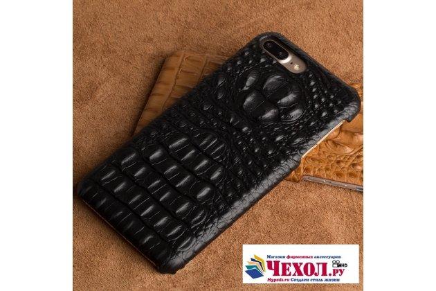 Фирменная роскошная эксклюзивная накладка с объёмным 3D изображением рельефа кожи крокодила черная для LG G6 mini / LG Q6 / LG Q6 Plus / LG Q6a M700. Только в нашем магазине. Количество ограничено