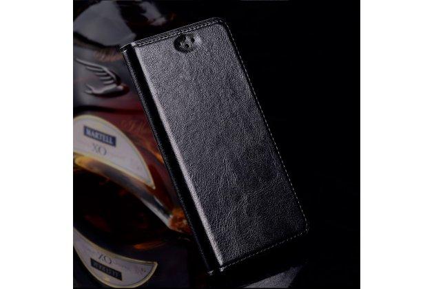 Фирменный чехол-книжка из качественной импортной кожи для LG G6 mini / LG Q6 / LG Q6 Plus / LG Q6a M700 черный