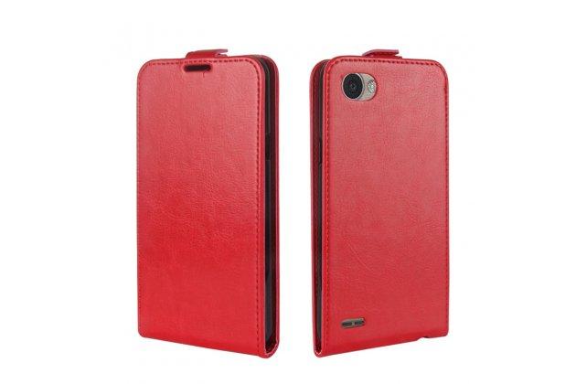 Фирменный оригинальный вертикальный откидной чехол-флип для LG G6 mini / LG Q6 / LG Q6 Plus / LG Q6a M700 красный из натуральной кожи Prestige