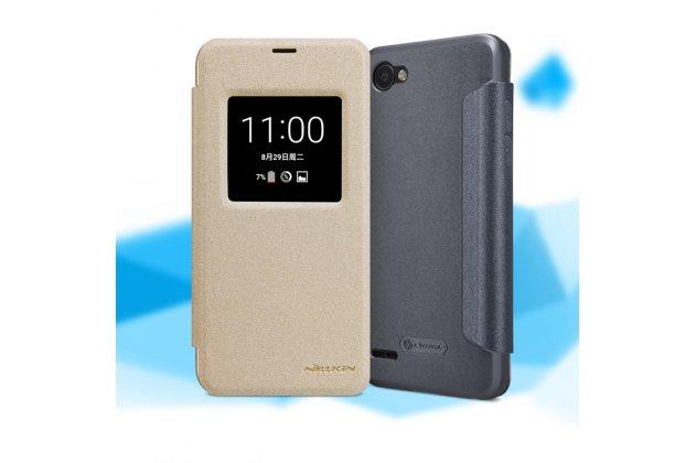 Фирменный оригинальный чехол-книжка для LG G6 mini / LG Q6 / LG Q6 Plus / LG Q6a M700 золотой водоотталкивающий с окошком для входящих вызовов