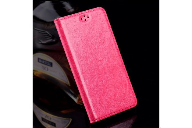Фирменный чехол-книжка из качественной импортной кожи для LG G6 mini / LG Q6 / LG Q6 Plus / LG Q6a M700 розовый