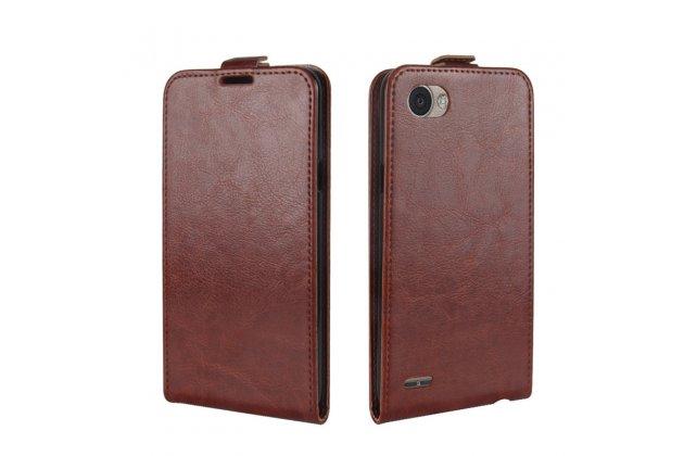 Фирменный оригинальный вертикальный откидной чехол-флип для LG G6 mini / LG Q6 / LG Q6 Plus / LG Q6a M700 коричневый из натуральной кожи Prestige