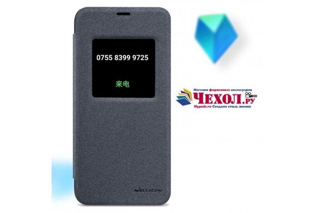 Фирменный оригинальный чехол-книжка для LG G6 mini / LG Q6 / LG Q6 Plus / LG Q6a M700 серый с окошком для входящих вызовов водоотталкивающий