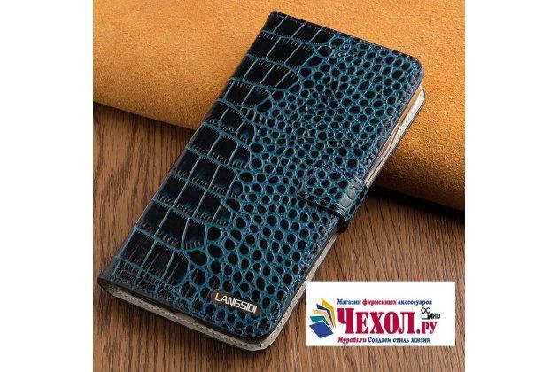 Фирменный роскошный эксклюзивный чехол с фактурной прошивкой рельефа кожи крокодила и визитницей синий для LG G6 mini / LG Q6 / LG Q6 Plus / LG Q6a M700. Только в нашем магазине. Количество ограничено