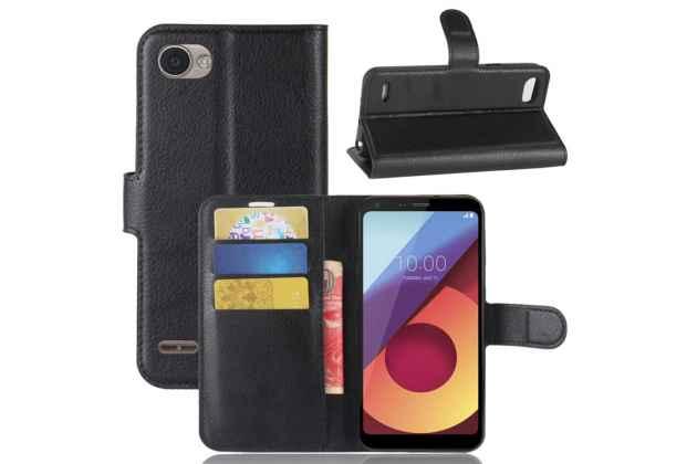 Фирменный чехол-книжка из качественной импортной кожи с мульти-подставкой застёжкой и визитницей для LG G6 mini / LG Q6 / LG Q6 Plus / LG Q6a M700 белый