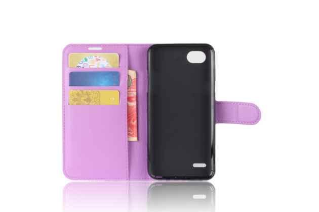 Фирменный чехол-книжка из качественной импортной кожи с мульти-подставкой застёжкой и визитницей для LG G6 mini / LG Q6 / LG Q6 Plus / LG Q6a M700 фиолетовый
