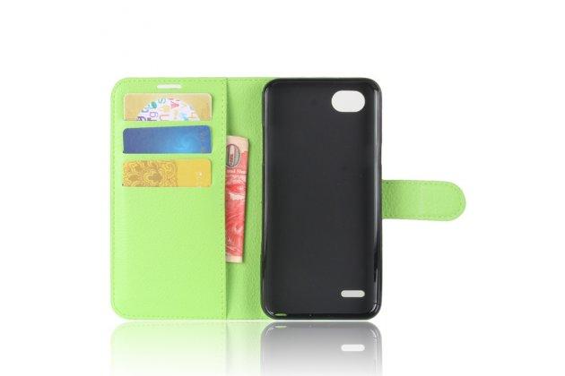 Фирменный чехол-книжка из качественной импортной кожи с мульти-подставкой застёжкой и визитницей для LG G6 mini / LG Q6 / LG Q6 Plus / LG Q6a M700 зеленый