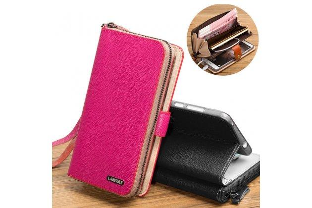 Фирменный чехол-портмоне-клатч-кошелек на силиконовой основе из качественной импортной кожи для LG G6 mini / LG Q6 / LG Q6 Plus / LG Q6a M700 розовый