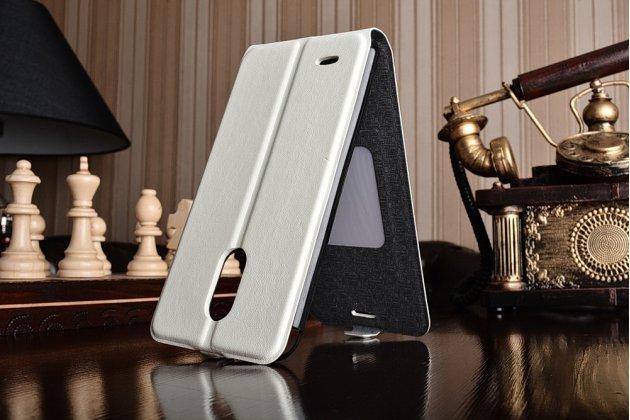 Фирменный оригинальный вертикальный откидной чехол-флип для LG Stylus 3 M400DY 5.7 белый из натуральной кожи Prestige Италия