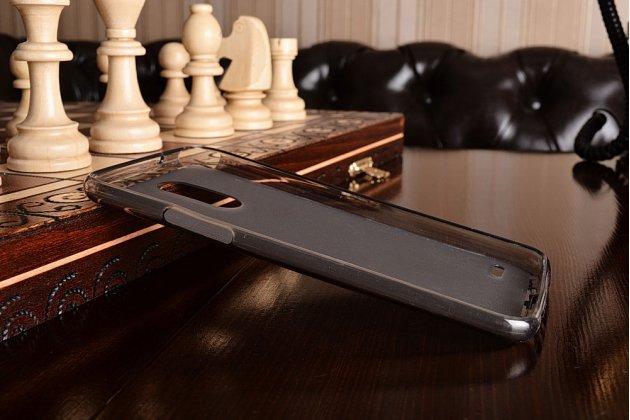 Фирменная ультра-тонкая полимерная из мягкого качественного силикона задняя панель-чехол-накладка для LG Stylus 3 M400DY 5.7 прозрачно-серого цвета.