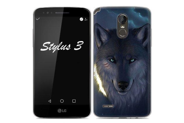 """Фирменная ультра-тонкая полимерная из мягкого качественного силикона задняя панель-чехол-накладка для LG Stylus 3 M400DY 5.7 """"тематика Волк"""""""