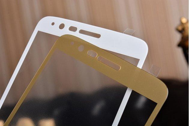 Фирменное 3D защитное изогнутое стекло с закругленными изогнутыми краями которое полностью закрывает экран / дисплей по краям с олеофобным покрытием для LG Stylus 3 M400DY 5.7